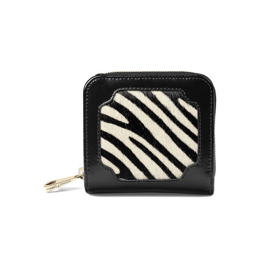 Marylebone Mini Purse in Zebra Haircalf & Black Polish from Aspinal of London