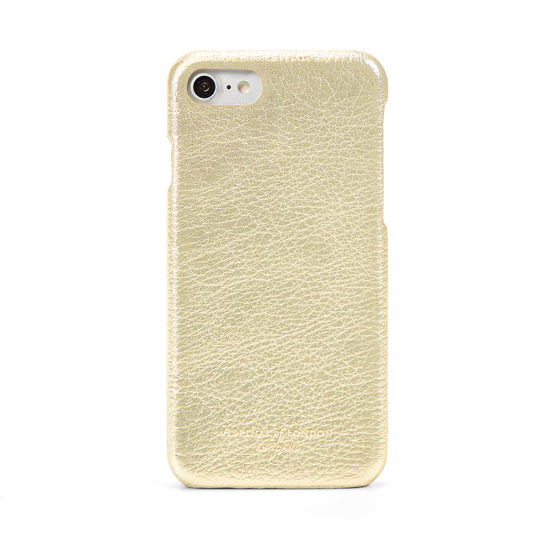 iPhone 7/8 Leather Cover in Pale Gold Pebble from Aspinal of London