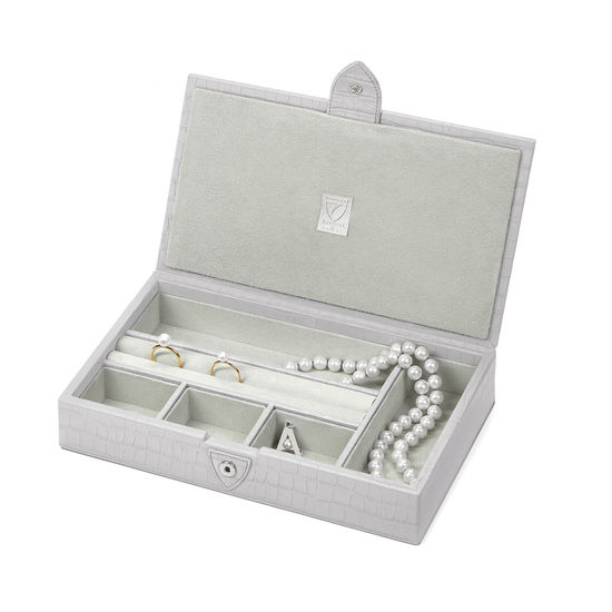 Paris Jewellery Box in Deep Shine Dove Grey Small Croc from Aspinal of London