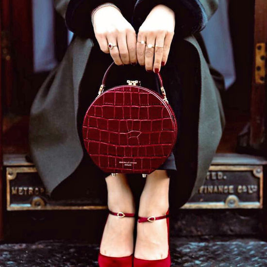 Mini Hat Box Bag in Deep Shine Bordeaux Croc from Aspinal of London