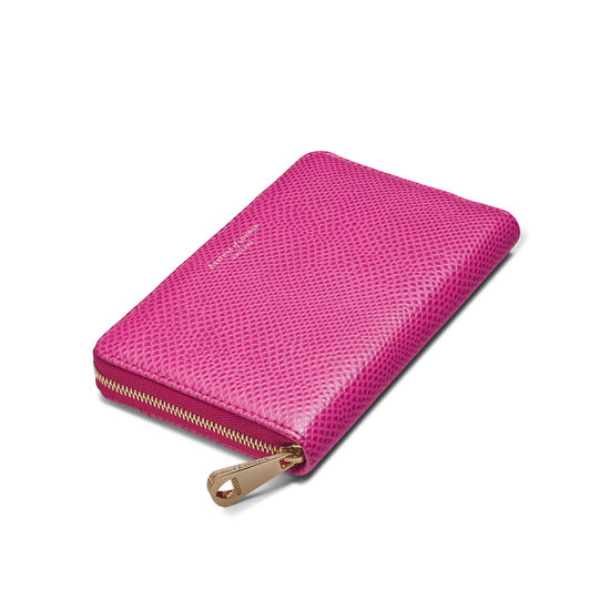 Midi Continental Clutch Zip Wallet in Raspberry Lizard from Aspinal of London