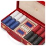 300 Chip Leather Poker Set in Berry Lizard from Aspinal of London